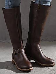 Недорогие -Жен. Ботинки На низком каблуке Круглый носок Кожа Сапоги до колена Лето Черный / Коричневый / Желтый