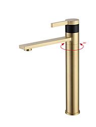 Недорогие -Ванная раковина кран - Широко распространенный Хром / Начищенная бронза / Матовый По центру Одной ручкой одно отверстиеBath Taps