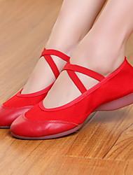 Недорогие -Жен. Танцевальная обувь Полотно Обувь для модерна На плоской подошве На плоской подошве Черный / Красный