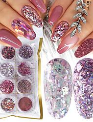 Недорогие -8 коробка микс блеск ногтей порошок пудры набор голографические блестки для маникюра лак для ногтей украшения блестящие советы