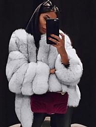 Недорогие -Жен. Повседневные Наступила зима Обычная Искусственное меховое пальто, Однотонный V-образный вырез Длинный рукав Искусственный мех Черный / Светло-серый / Белый