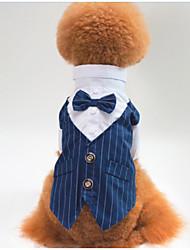 Недорогие -Собаки Инвентарь смокинг Одежда для собак Полоски Черный Синий Полиэстер Костюм Назначение Осень Свадьба