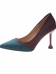 cheap -Women's Heels Kitten Heel Pointed Toe Suede / Cotton Sweet / Minimalism Spring &  Fall / Fall & Winter Purple / Blue / Party & Evening / Striped