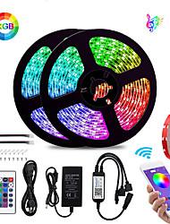 billige -Bluetooth led stripelys 5050 10m (2 x 5m) 600 leds smarttelefonstyrt vanntett rgb til hjemmet&ampoutdoor dekorasjon 12v 6a adapter / 1set monteringsbrakett