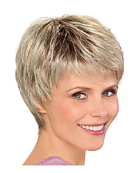 Недорогие -Парики из искусственных волос Прямой Стиль Стрижка каскад Машинное плетение Без шапочки-основы Парик Блондинка Светло-золотой Искусственные волосы 8inch Жен. Без запаха Модный дизайн Регулируется