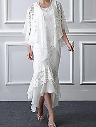 Недорогие -А-силуэт / Из двух частей Круглый вырез Асимметричное Кружева Платье для матери невесты с Аппликации от LAN TING Express / Накидка включена