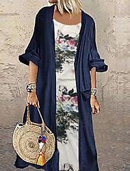 Недорогие -Жен. Большие размеры Кафтан Платье - Цветочный принт Макси