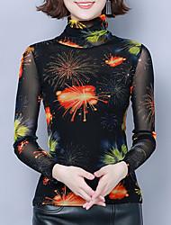 billige -Skjorte Dame - Blomstret / Grafisk, Trykt mønster Vintage / Elegant Oransje