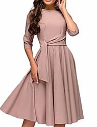 Недорогие -Жен. Классический Оболочка С летящей юбкой Платье - Однотонный До колена
