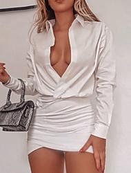 Недорогие -Жен. Рубашка Платье - Однотонный Мини
