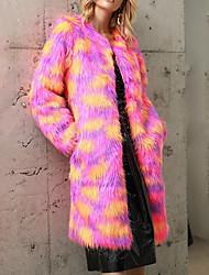 Недорогие -Жен. Для вечеринок / Офис Уличный стиль / Изысканный Зима / Наступила зима Длинная Искусственное меховое пальто, Контрастных цветов / камуфляж Круглый вырез Длинный рукав Искусственный мех Цвет радуги