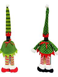 Недорогие -Мода красный эльф полоса / точка крышка от бутылки вина сумки шляпа платье набор для рождественского ужина украшения стола