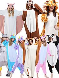 Недорогие -Взрослые Пижамы кигуруми Жираф Животный принт Цельные пижамы Флис Каштановый / Коричневый / Черный / Белый Косплей Для Муж. и жен. Нижнее и ночное белье животных Мультфильм Фестиваль / праздник