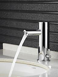 Недорогие -Ванная раковина кран - Широко распространенный Хром Свободно стоящий Руки свободно одно отверстиеBath Taps