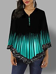 Недорогие -Жен. Блуза Классический Контрастных цветов Черный