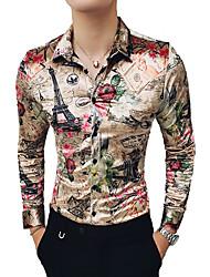 Недорогие -Муж. С принтом Рубашка Уличный стиль / Элегантный стиль Геометрический принт / Контрастных цветов / Графика Цвет радуги