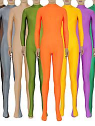 """Недорогие -Костюмы на все тело """"зентай"""" Костюмы кошки Кожаный костюм Ниндзя Взрослые Спандекс Лайкра Косплэй костюмы Пол Муж. Жен. Телесный / Темно-зеленый / Оранжевый Однотонный Хэллоуин / Эластичность"""