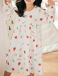 Недорогие -Дети Девочки Однотонный Фрукты Пижамы Белый