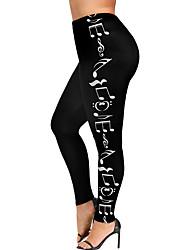 Недорогие -Жен. Уличный стиль Большие размеры Свободный силуэт Леггинсы Брюки - С принтом С принтом Черный L XL XXL
