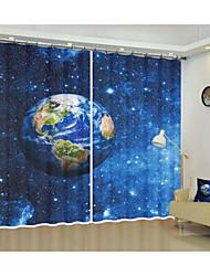 Недорогие -пространство ткани украшения земля цифровая печать 3d занавес затенение занавес высокой точности черный шелк ткань высокого качества первого класса затенение спальня гостиная занавес