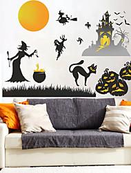 billige -halloween hekseborg gresskar pvc veggklistremerker - flyklistremerker transport / landskapsstudierom / kontor / spisestue / kjøkken