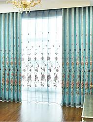 Недорогие -Modern Шторы портьеры 2 шторы Занавес / Солнцезащитные / Вышивка / Гостиная