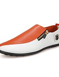 Недорогие -Муж. Комфортная обувь Полиуретан Осень На каждый день Мокасины и Свитер Доказательство износа Контрастных цветов Черно-белый / Оранжевый / Для вечеринки / ужина