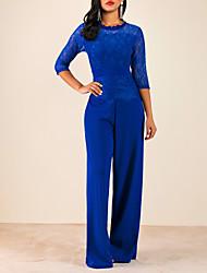 Недорогие -Жен. Активный Черный Винный Синий Комбинезоны, Однотонный Кружева S M L