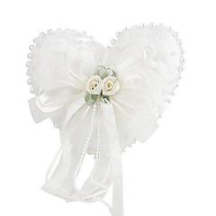 lindas flores e pérolas decoração suave travesseiro de cetim anel de casamento (0802-whc007)