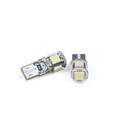 billige Halogenpærer-2 stk Bilpærer T10 fem ledet 5050 SMD hvitt lys