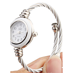 Quartz Watch with Metal Rope Watch Strap - White Face Elegant Style