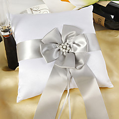 White Satin Ring Pillow With Silver Sash And Peal