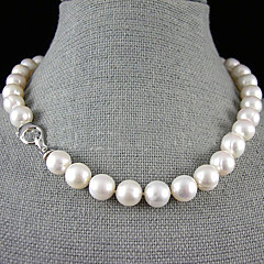 cheap Necklaces-Women's Flower Pearl Sterling Silver Pearl Necklace Y-Necklace  -  Single Strand White Necklace For Wedding Party Anniversary