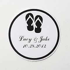 cheap Wedding Invitations-Personalized Round Favor Stickers – Back Slippers (Set of 36)