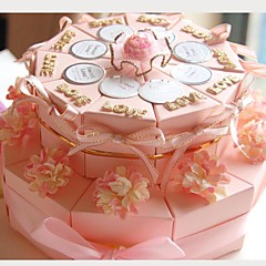 cheap Cake Boxes-Round Square Card Paper Favor Holder with Ribbons Printing Flower Favor Boxes - 20