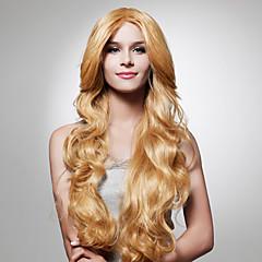 お買い得  人工毛ウィッグ-人工毛ウィッグ ウェーブ キャップレス 女性用 ブロンド カーニバルウィッグ ハロウィンウィッグ ナチュラルウィッグ ロング