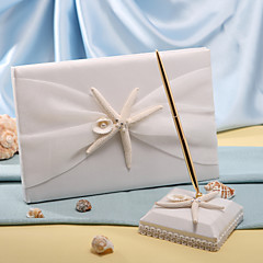 cheap Guest Book & Pen Sets-Guest Book Pen Set Polyester Beach ThemeWithStarfish and Seashell Guest Book