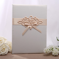 Embroidered Ivory Tri-Fold Large Guestbook Wedding Ceremony Beautiful