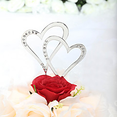 cheap Cake Toppers-Cake Topper Classic Theme Hearts Wedding Anniversary Bridal Shower With Rhinestone PVC Bag