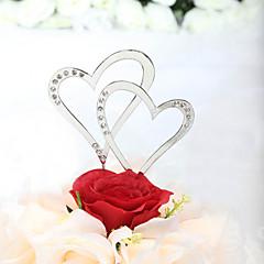 קישוטים לעוגה לא מותאם אישית לבבות חתונה / יום שנה / מסיבה לכלה ריינסטון כסף נושא קלאסי תיק PVC