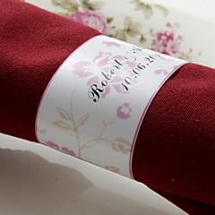 gepersonaliseerde papieren servetring - roze bloem (set van 50) huwelijksreceptie