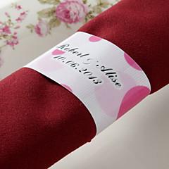 gepersonaliseerde papieren servetring - roze romantiek (set van 50) huwelijksreceptie