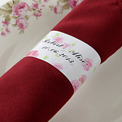 gepersonaliseerde papieren servetring - roze roos (set van 50) huwelijksreceptie