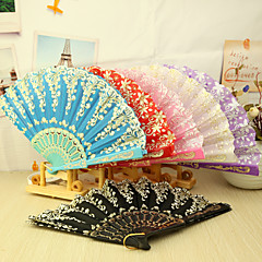cheap Fans & Parasols-Asain Theme Plastic Hand Fan - Set of 4(Mixed Colors,Mixed Floral Pattern)