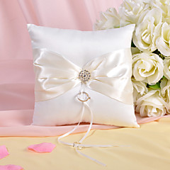 Ring Pillow In Ivory Satin With Rhinestones And Sash Wedding Ceremony