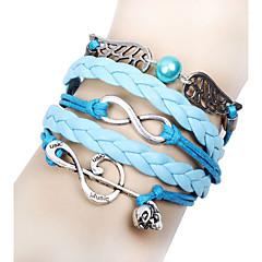 billiga -Dam Multi lager Oändlighet Armband av Remmar - Multi lager Handgjord Inspirerande Oändlighet Silver-Blå Armband Till Julklappar Dagligen