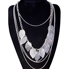 Women's Pendant Necklaces Statement Necklaces Leaf Alloy Tassel Fashion Bohemian Multi Layer Long Costume Jewelry Jewelry For Party