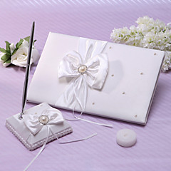 cheap Guest Book & Pen Sets-Guest Book Pen Set Satin Garden ThemeWithFaux Pearl Ribbons
