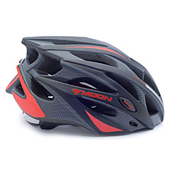 cheap Bike Helmets-MOON Bike Helmet Cycling Black and Red PC/EPS 21 Vents Protective Ride Helmet Adults Kids One Piece Ultra Light (UL) Adjustable Sports Helmet