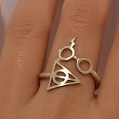 Χαμηλού Κόστους Ασημένιο Δαχτυλίδι-Γυναικεία Band Ring - Κράμα Alphabet Shape 7 Χρυσό / Μαύρο / Ασημί Για Πάρτι / Καθημερινά / Causal